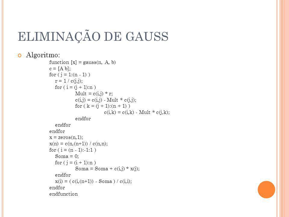 ELIMINAÇÃO DE GAUSS Algoritmo: function [x] = gauss(n, A, b)